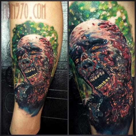 zombie tattoo on leg by graynd tattooimages biz new school style colored leg tattoo of evil zombie