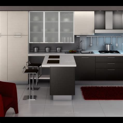 modern kitchen design gallery with chair