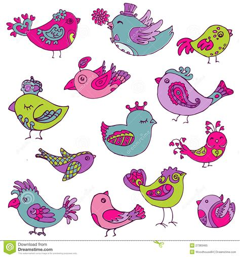 doodle bird colorful birds doodle collection royalty free stock photo