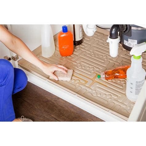 xtreme mats beige kitchen depth under sink cabinet mat