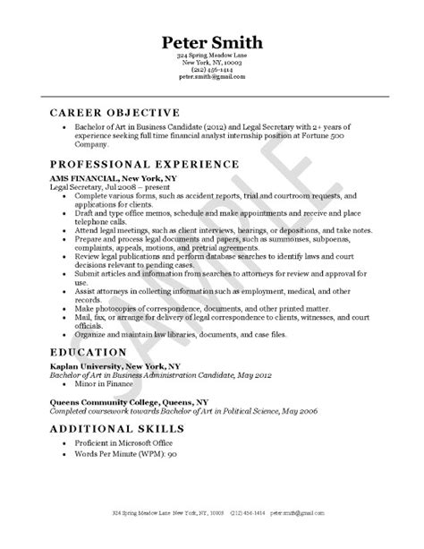 resume sles for company secretary
