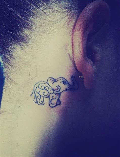 Elephant Tattoo Behind Ear | 108 small tattoo ideas and epic designs for small tattoos