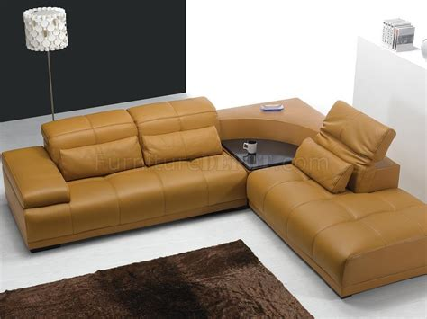 Tables For Sectional Sofas Camel Leather Modern Sectional Sofa 697