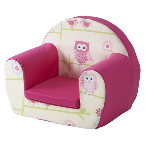 childs foam armchair owls twit twoo pink childrens kids comfy foam chair
