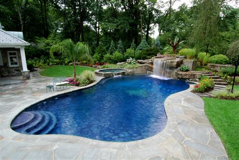 Backyard Swimming Pool by Backyard Swimming Pools Waterfalls Landscaping Nj