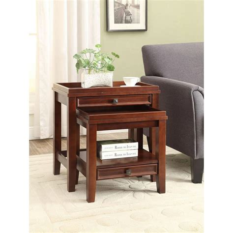 cherry home decor linon home decor wander cherry 2 piece nesting end table 770001chy01u the home depot