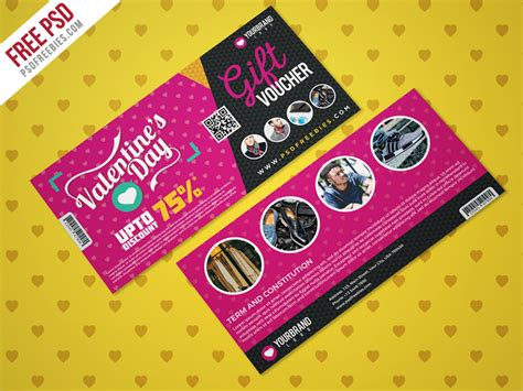 discount card template psd valentines day shopping voucher psd template psdfreebies