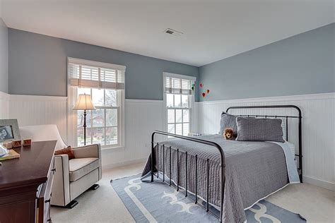 bedroom wainscoting cottage guest bedroom with carpet wainscoting zillow