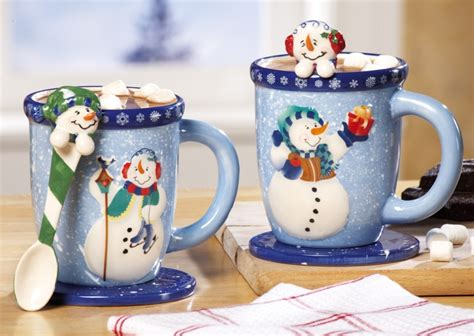 snowman holiday mug and spoon gift set christmas