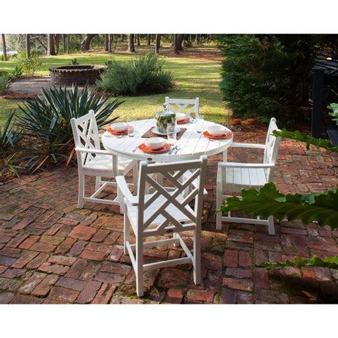 Polywood Chippendale White 5 Piece Plastic Outdoor Patio White Patio Dining Set