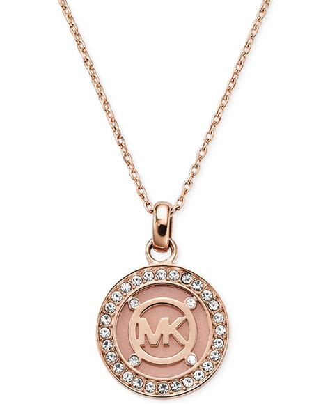 michael kors gold tone blush mk logo disc necklace