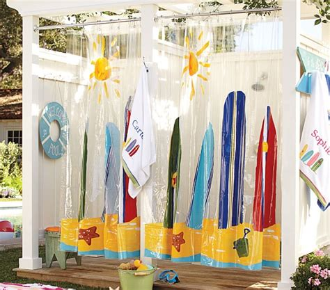 surfboard shower curtains vinyl surf shower curtain pottery barn kids