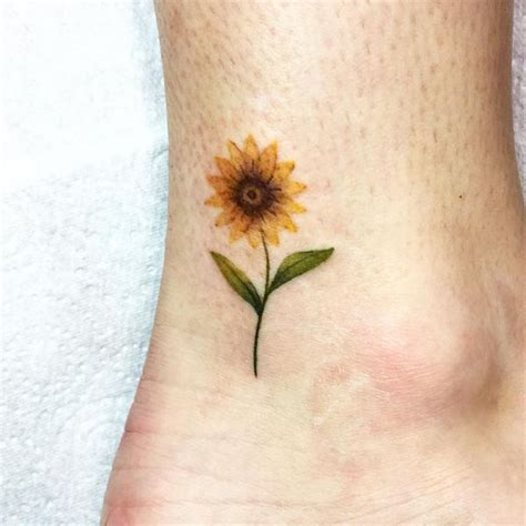 small sunflower tattoo on wrist tiny sunflower on the ankle michel tattoos