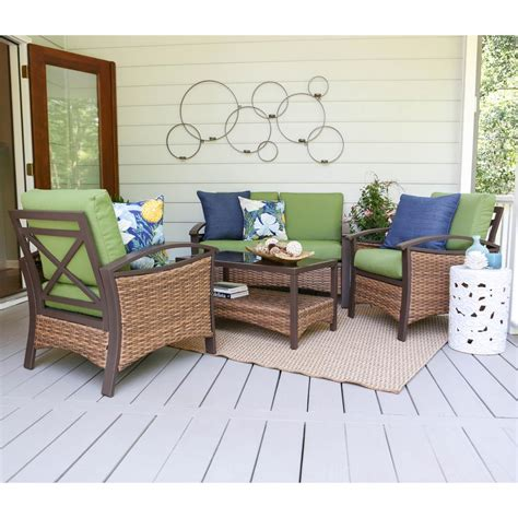 Patio Cushions Green Thompson 4 Wicker Patio Conversation Set With Green