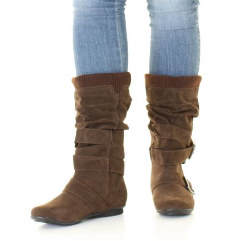 wide calf slouch boots womens brown suede style slouch buckle knitted cuff wide