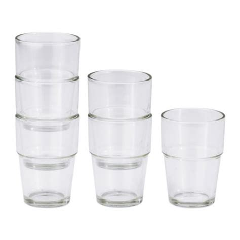 Stackable Kitchen Glasses Ikea Reko Clear Glass 6 Pack Set Stackable