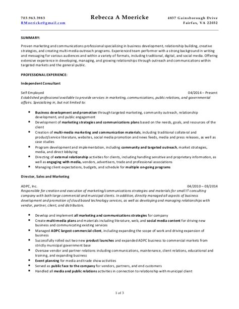 communications consultant resume moericke marketing and communications consulting