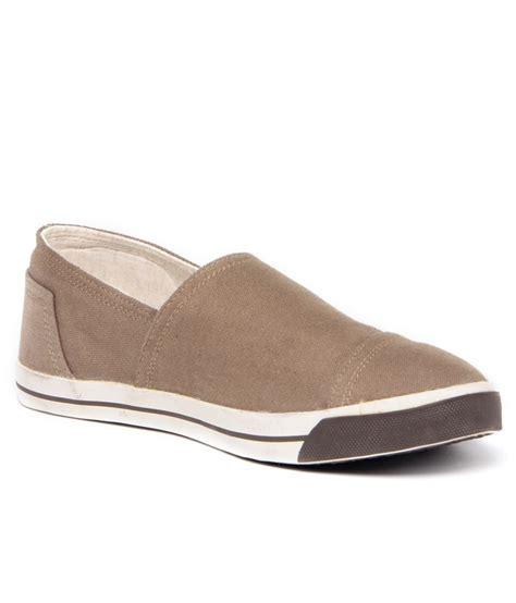 gas voguish khaki brown slip on canvas shoes price in