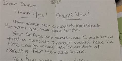 Divorce Letter Huffington Post Bone Marrow Recipient Pens Beautiful Thank You Letter To Donor Photo