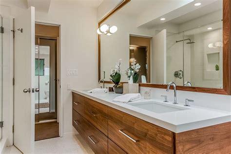 Modern Bathroom Cabinetry by Mid Century Modern Bathroom With Caesar And Walnut