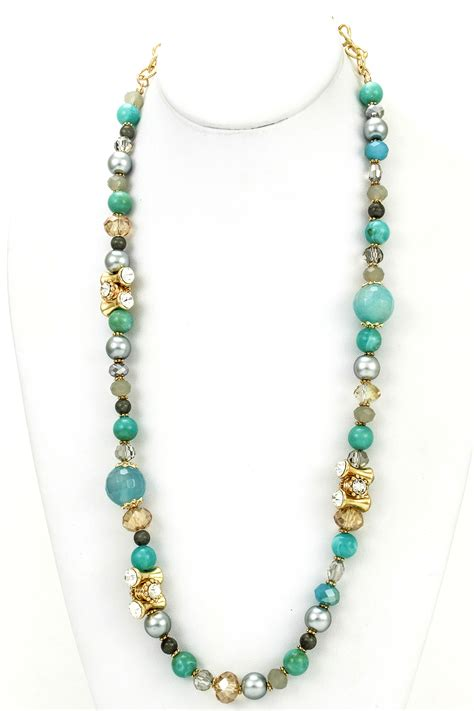 gemstone beaded chain link necklace necklaces