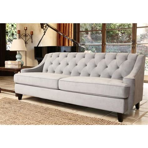 Abbyson Living Claridge Steel Blue Velvet Fabric Tufted Sofa Blue Velvet Tufted Sofa