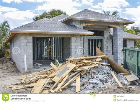 New Home And Construction Debris Stock Photo   Image: 38876662