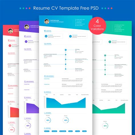 download free resume cv template free psd download psd