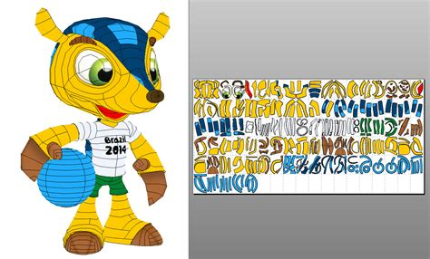 Papercraft World - fuleco fifa world cup 2014 mascot papercraft by sabi996