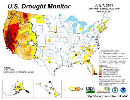 us weather drought map u s drought monitor update for july 7 2015 national