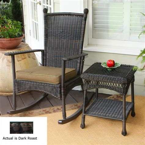 Outdoor All Weather Wicker Chairs   Hauser Coastal All Weather Wicker Rocking Chair With, All