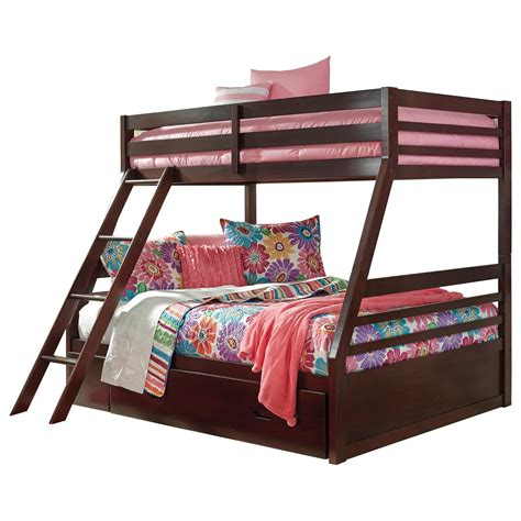 Bunk Bed With Storage Underneath Signature Design By Halanton Solid Pine Bunk Bed W Bed Storage V