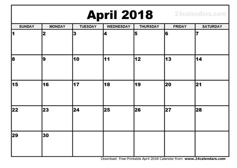 2018 Free Printable Calendar April 2018 Calendar Template 2018 Calendar Printable