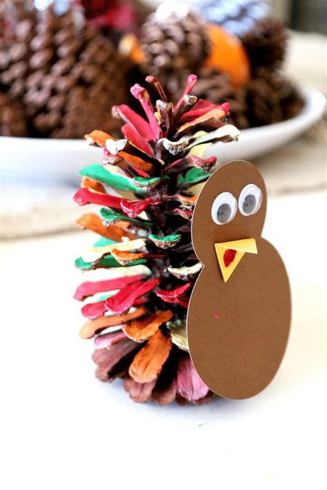 pinecone turkey craft painted pine cone turkeys