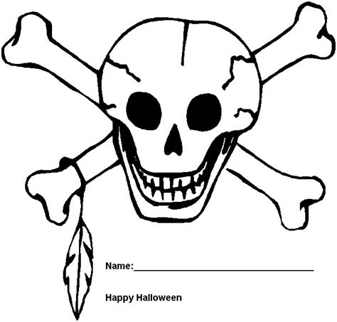 skull and crossbones coloring pages halloween skull and bones