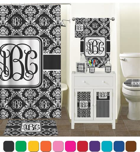 Monogrammed Damask Bathroom Accessories Set Personalized Damask Bathroom Accessories
