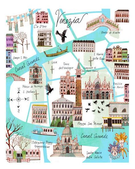 5 themes of geography venice italy illustrated venice map by josie portillo via etsy map