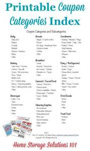 coupon categories and subcategories for organizing coupons