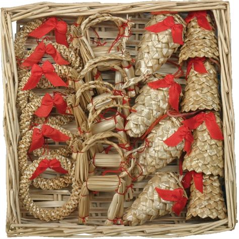 christmas straw ornaments set of 20 pieces wicker