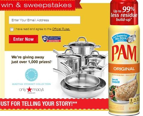 Facebook Instant Win - pam your ally in the kitchen instant win game 1000 winners