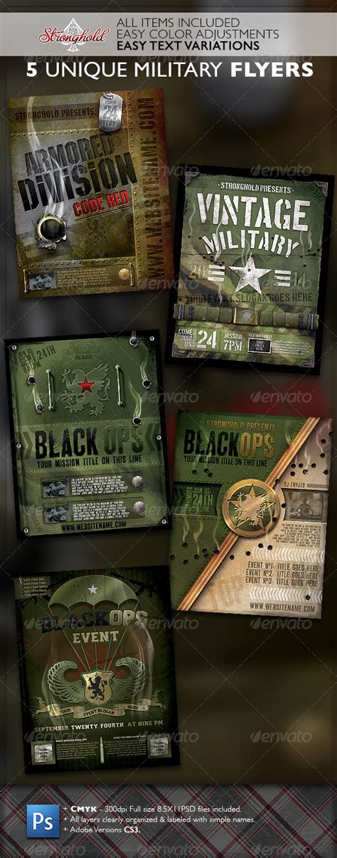 military templates for photoshop vintage military flyer template bundle flyer template