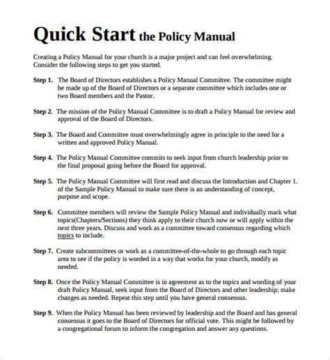 8 Policy Manual Templates To Download Sle Templates Policy Manual Template