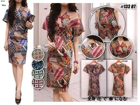 Dress Batik Donita 19 Dress Batik Katun Stretch Bigsize jual baju batik dress 8111 auroraku