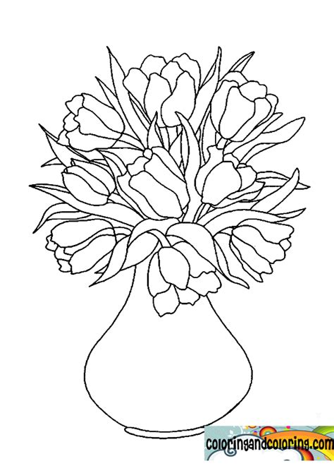 drawn vase flower coloring page pencil and in color