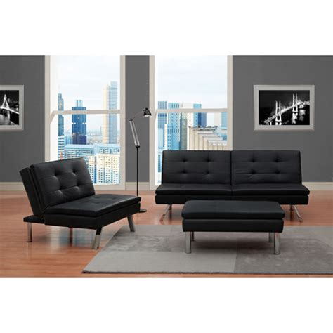 Chelsea 3 Piece Living Room Set Black Walmart Com Walmart Living Room Sets