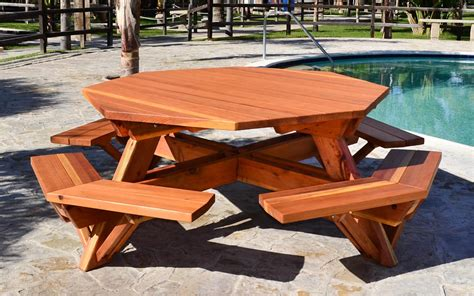 octagon picnic table wood picnic table  attached bench