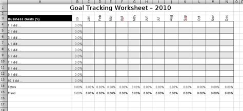 Goals Spreadsheet by Tracking My Annual Goals Freelancing Digest