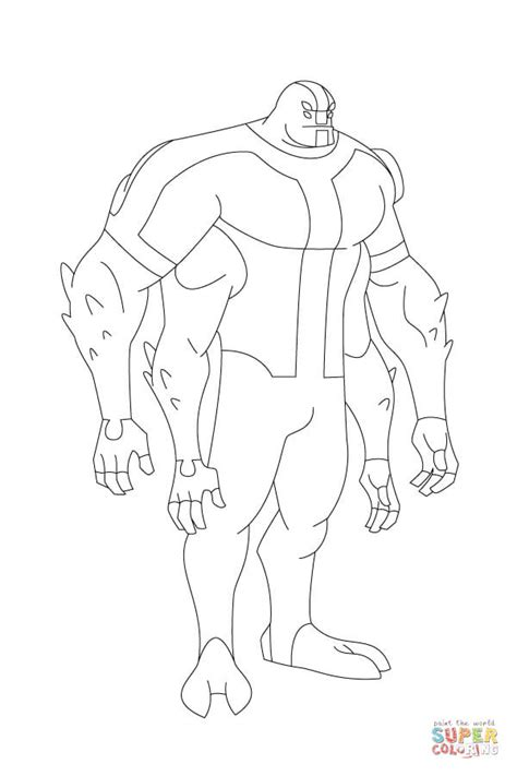 Ben 10 Four Arms Stands Tall And Proud Coloring Page Sea | printable colouring ben 10 ben 10 ghostfreak coloring