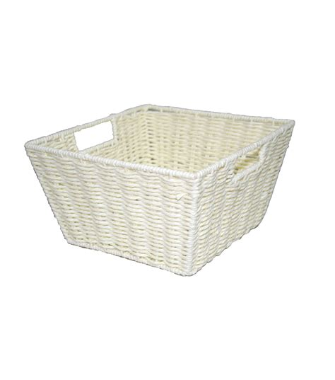 Basket With Paper - organizing essentials paper rope basket with handle ivory
