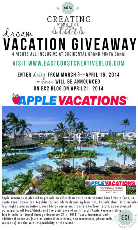 Vacation Giveaways - creating with the stars 2014 contest link up